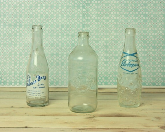 RESERVED instant collection of vintage soda bottles