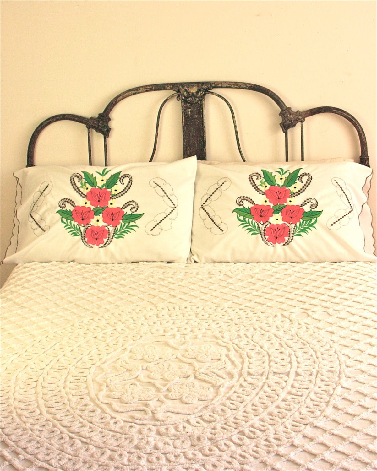 pair of vintage mexican embroidered pillow by ...