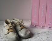 ON SALE Vintage Handmade Leather Infant Shoes