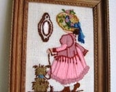 ON SALE Vintage Crewel Embroidery Lady with Dog Framed Picture
