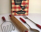 Vintage Red, Wooden Handle Kitchen Set with Better Homes and Gardens Cook Book- Instant Collection