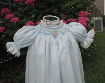 Blue Batiste Baby Daygown with Miniature Smocking