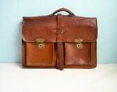 Distressed 70s vintage briefcase laptop bag brown leather