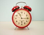 Vintage red mechanical alarm clock twin bells 70s