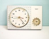 TEMP RESERVED FOR Ca - Vintage 60s kitchen wall clock with timer porcelain ceramic