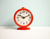 Vintage Big Mechanical Alarm Clock Red Beige White Russian Wind Up 70s