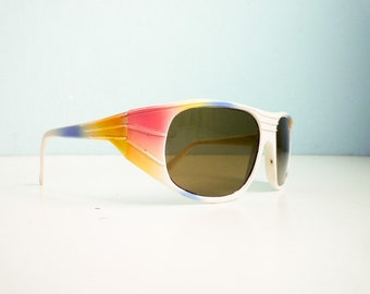 Vintage Glass Lens 80s Sunglasses white rainbow French Accessories