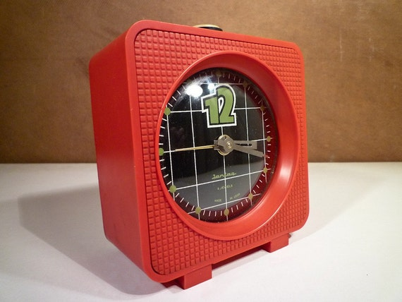 Big Red Vintage 70s Russian Alarm Clock black and red