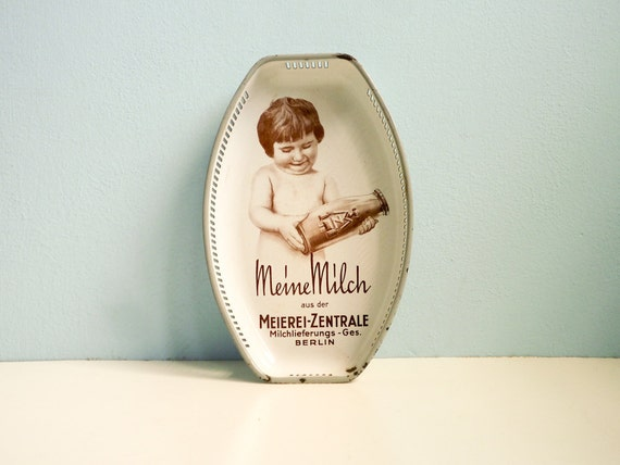 1930 Enamel Advertising Serving Tray Milk Advertising German 30s