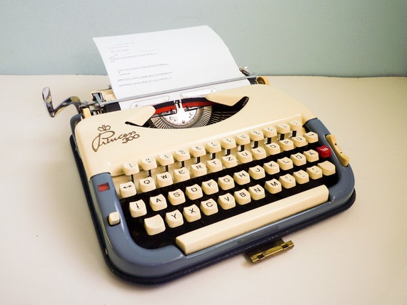 Rare portable typewriter Princess 300 manual bicolor cream and blue 50s