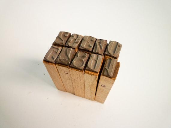 Vintage Letterpress Numbers Wooden Stamps Blocks 0-9