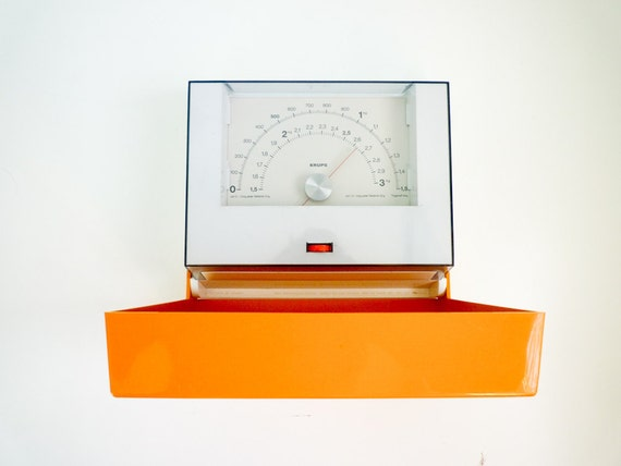 Vintage 70s Kitchen Weighing Scale Wall Mounted Orange Made by Krups