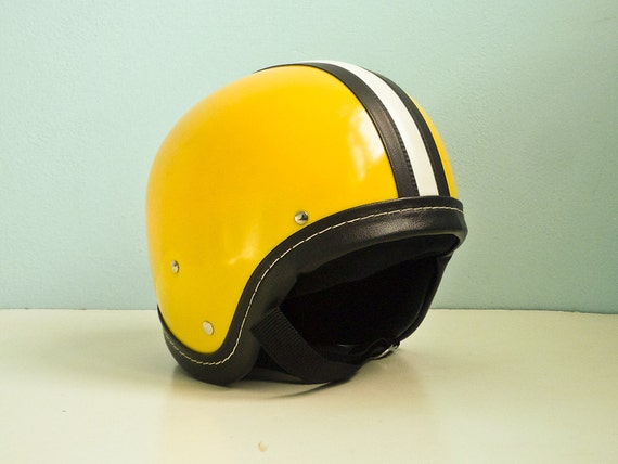 Vintage motorcycle helmet yellow black white stripe deadstock