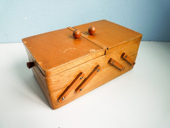 Vintage Sewing Storage Box Drawer Wooden 60s