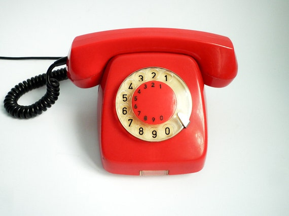 Reserved for nmnm5 - Vintage dial rotary phone shiny red 80s