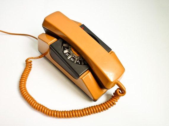 Vintage 80s Rotary Phone Mustard Caramel Dial Telephone