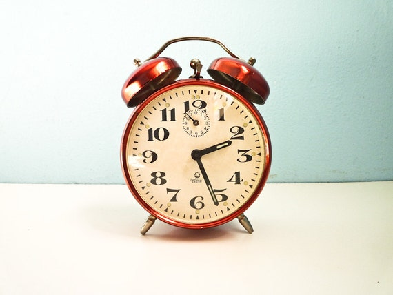 Vintage red alarm clock twin bells mechanical chrome color