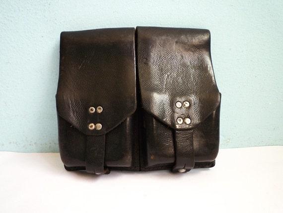 Vintage Belt Bag Military Leather Army  Austrian Black 1960