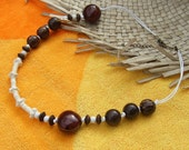 Dark brown palm wood beads and white coco flowers, Beach Party Necklace
