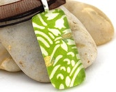 Glass Tile Necklace - Tropical Lime Floral - by allthatweare - sale