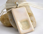 Ceramic Pendant with Recycled Glass - Rectangle Necklace in Pearl - eco friendly