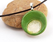 Ceramic Pendant with Recycled Glass - Small Circle Necklace in Spring Willow
