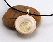Ceramic Pendant with Recycled Glass - Small Circle Necklace in Pearl by allthatweare