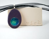 Ceramic Pendant with Recycled Glass - Small Oval Necklace in Plum Sky - FREE SHIPPING