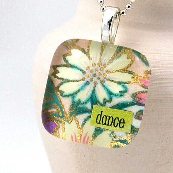 Glass Tile Pendant - Happy Flowers Dance Necklace