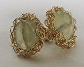Knitted Yellow Gold filled Stud Earrings with Round Routilated Quartz stones.