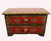 Beautiful Gilded and Red Wood Jewelry or Trinket Box NOW REDUCED