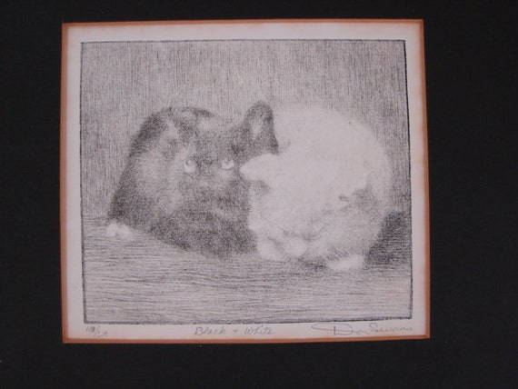 Original Don Swann Etching Cats in Black and White Signed, Numbered On Clearance Now