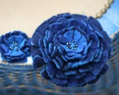 Set of 2 Hand Felted Flower Pins in Blue