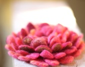 Hot Pink Hand Felted Flower Brooch