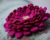Magenta & Red Dahlia Hand Felted Brooch
