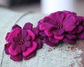 Purple & Magenta Hand Felted Brooch Set