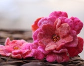 Pretty Pink Hand Felted Brooch Set