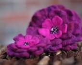 Purple Hand Felted Brooch Set