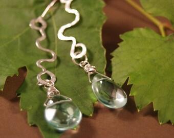 Teardrop Earrings - Sterling Silver and Aqua - Handmade