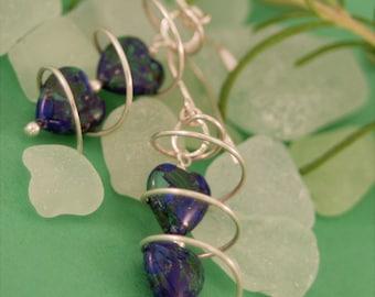 Twisty Hearts - Azurite-Malachite Earrings - Sterling Silver - handmade