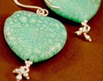 Turquoise Heart Earrings - Sterling Silver - Handmade
