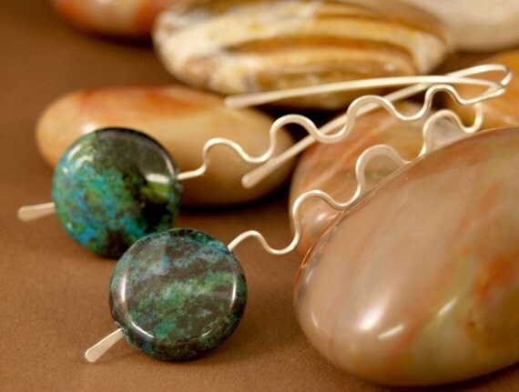 Chrysocolla and Sterling Silver Earrings handmade