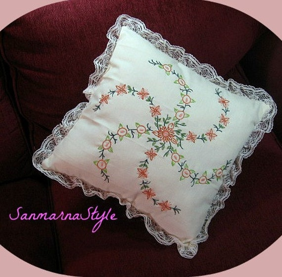 Throw pillow, hand embroidered