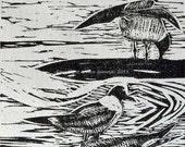 Laughing Gulls at Reeds Beach Linocut