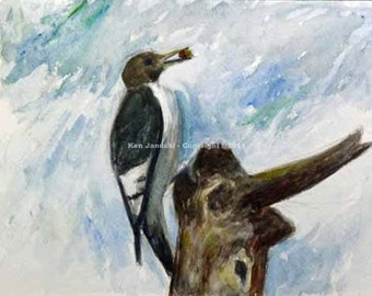 Red-headed Woodpecker at Wissahickon Watercolor Painting