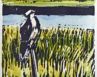 Osprey at Cape May Hand-colored Linocut