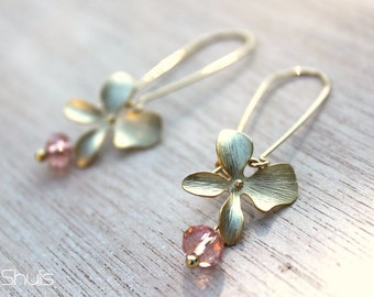 Romantic Orchid Gold Earrings w/ Pink rondellles