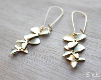 16k Gold Plated Orchid Flower Dangle Earrings w/ 14k Gold Filled Kidney Ear Wires