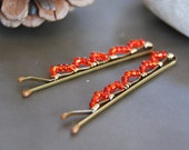 Christmas Red Bobby Pins, Wire Wrapped, Hair Accessory, Fashion, LoveandCherish