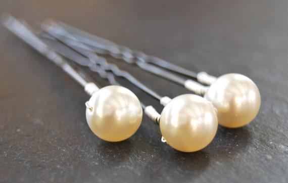 Bridal Hair Pins, Swarovski Pearl, Simplicity, Wire Wrapped, Wedding, Hair Accessory, Fashion, LoveandCherish